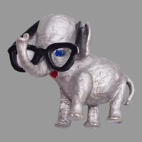 Figural Elephant Brooch with Glasses!