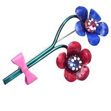 Blue and Red Daisy Flower Brooch