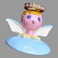 Tortolani Enameled Angel Pin - c. 1955-1976