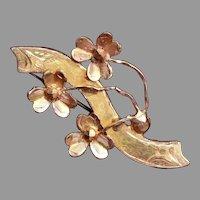 24kt Gold Climbing 3 Leaf Clover Brooch