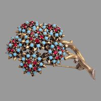 Turquoise and Red Stone Flower Brooch