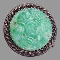 Green Carved Peking Glass Oriental Brooch