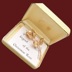 Giovanni Legend of the Christmas Rose Brooch and Original Box