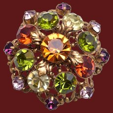 Green, Yellow and Topaz Rhinestone Brooch
