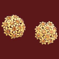 Yellow Enameled Flower Earrings with Topaz Rhinestones