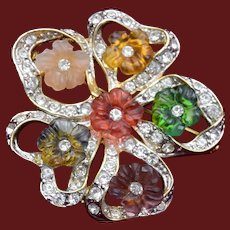 Colorful Molded Plastic Flowers and Rhinestone Brooch