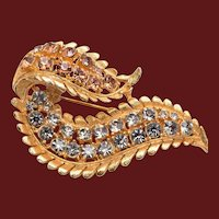 Curved Leaf Brooch with Silver and Gold Rhinestones