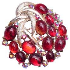 Red Glass Jelly Brooch