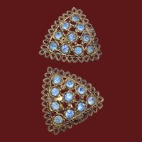 2 Tone Blue Rhinestone Dress Clips