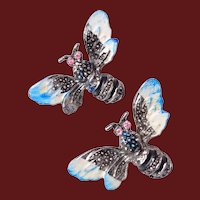 Pair of Moth or Bees Brooches