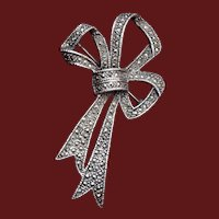 Sterling and Marcasite Bow Brooch