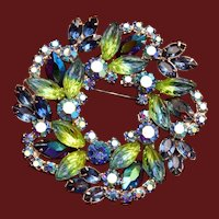 Blue and Green Brooch with Molded Glass Blue and Green Leaves