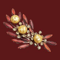 Cathe' Faux Pearll, Rhinestone and Glass Stone Brooch