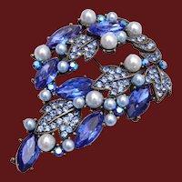 Blue Rhinestone and Faux Pearl Brooch