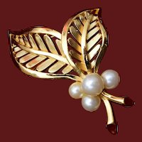 Trifari Leaf and Faux Pearl Brooch