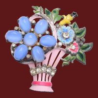 Coro Glass and Enameled Flower Basket Brooch
