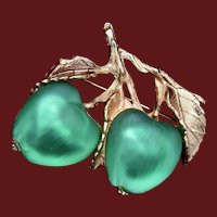 Napier Glowing Double Glass Green Apples Brooch