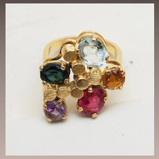 18kt Gold Ring With 5 Colorful Gems Size 7