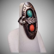 Sterling Turquoise and Coral Shadow Box Ring Size 6
