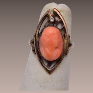 14kt Coral Cameo Ring 5-1/4