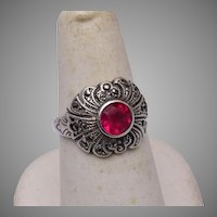 Sterling Marcasite and Red Stone Ring 7-1/4