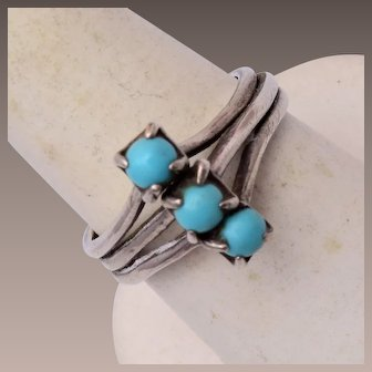 Sterling and Turquoise Ring Size 8