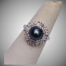 Sterling Ring With Real Gray Pearl Size 8-1/4