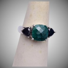 Emerald and Onyx Sterling Ring Size 8
