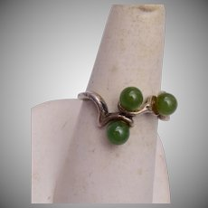 Sterling and Jade Ring Size 7-1/2