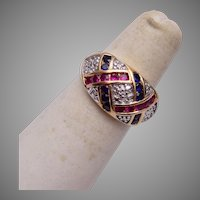 Sterling and Synthetic Ruby and Sapphire Ring Size 6-1/2