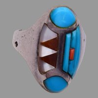 Sterling Turquoise and Coral Navajo Inlaid Ring
