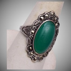 Sterling and Marcasite Green Stone Ring Size 8-1/2