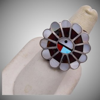Sterling Zuni Inlaid Sun Face Ring Size 7-1/2