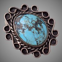 American Indian Turquoise and Sterling Size 6 Ring