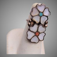 Zuni Inlaid Flower Ring With Turquoise and Coral Centers Size 5-1/4