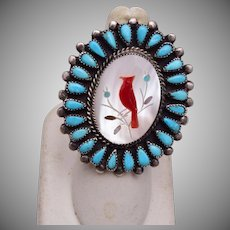 Zuni Inlaid Cardinal Sterling Turquoise and Coral 8-1/4 Ring