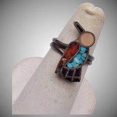 Zuni Bird Ring - Turquoise, Coral and Mother of Pearl 6-1/2