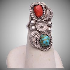 Signed TB Sterling, Turquoise and Coral Ring - Navajo 5-1/2