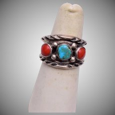 Man's Sterling Turquoise and Coral Navjao Ring Size 8