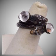 2 Snake Ring With Pearl Eyes and Glass Jellies 5-3/4