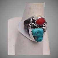 Navajo Man's Sterling Turquoise and Coral Ring Size 10-1/2