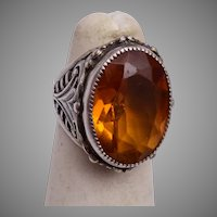 Sterling and Topaz Ring Size 4-1/2