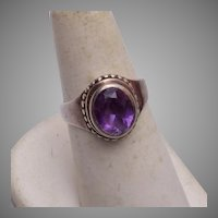 Sterling and Amethyst Ring Size 7-1/2