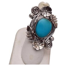 Large Sterling and Turquoise Ring Size 8