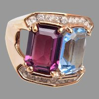 18kt Gold Electroplate Ring with Purple and Blue Stones