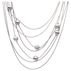 7 Strand Silver Tone Necklace and Pierced Earring Set