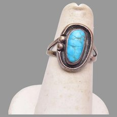Silver and Turquoise Ring size 5-3/4