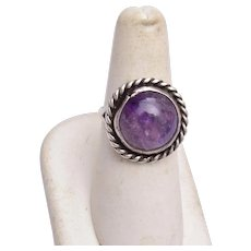 Sterling and Amethyst Ring Size 7-3/4