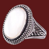 Costume Ring with Mother of Pearl Size 9-1/2