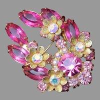 Juliana D&E Pink Flower Brooch